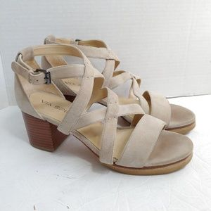 Via Spiga eggshell suede chunky heel sandals